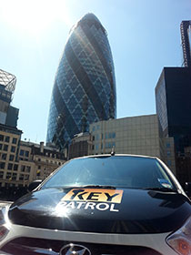 Gherkin front on key patrol car