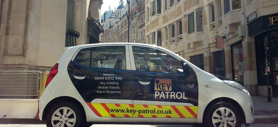 Keyholding and alarm response vehicle on patrol in front of the Shard, London